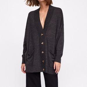 Zara Dark Gray Oversized Button Cardigan Small